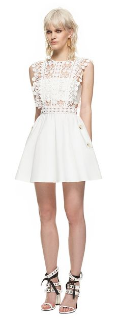 Floral Vine Mini Dress White Oh wow. Look at the lace detailing.