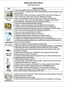 Reiki Tips Cheat Sheet - I especially like the tip about Reiki your Third Eye and Heart Chakras before falling asleep.