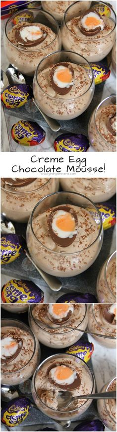 Creme Egg Chocolate Mousse!! ❤️ Simple and Easy Three Ingredient Chocolate Mousse Desserts filled with Creme Eggs, and even more Creme Egg on top!