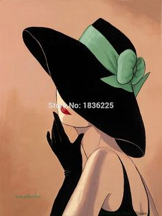 Cheap Top Artist Handmade Sexy Lady With black hat Oil Painting On Canvas Handmade Elegat Woman Canv Oil Painting On Canvas, Canvas Art, Abstract Face Art, Girl With Hat, Top Artists, Art Pictures, Line Art, Pop Art, Art Drawings