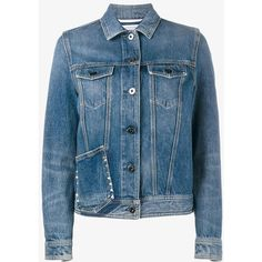 Valentino Untitled denim jacket ($1,245) ❤ liked on Polyvore featuring outerwear, jackets, studded denim jackets, flap jacket, long sleeve jacket, long sleeve jean jacket and blue jean jacket
