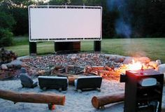 How freaking awesome would this be! Your own outdoor movie theater at home! outdoor movie screen, made with PVC pipes, tethers, and a white tarp. How awesome would this be in the backyard? Outdoor Fun, Outdoor Spaces, Outdoor Living, Outdoor Decor, Outdoor Ideas, Outdoor Events, Outdoor Fabric, Outdoor Life, Outdoor Projects