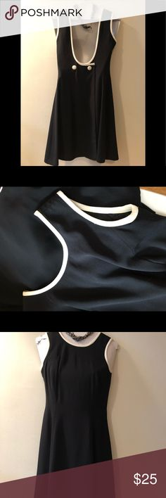 """Ann Taylor Black Cocktail Dress 👗 Stunning Black Cocktail Dress from Ann Taylor, Size 2. Ivory pipping along the neckline and arm openings.  Made in the USA!!! Sexy Opening in the Back is Breathtaking. Approx 34"""" Long, Only Worn Once. Ann Taylor Dresses"""