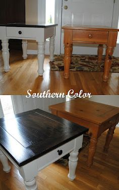 white and stained table from Southern Color