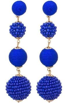Latelita London Tassel Ball Earrings with Iolite, Sapphire and CZ