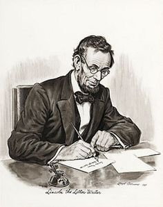 Lincoln The Letter Writer by Lloyd Ostendorf (1921 – 2000) #sketch #letters #Lincoln