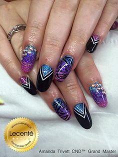 Lush! - Amanda Trivett - CND Shellac, handpainted design & #Lecenté Blue, Purple & Lavender holographic #gltters #nails #nailart #lovelecente