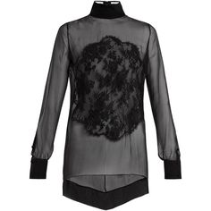 Givenchy Lace-appliqué high-neck sheer silk blouse (€1.685) ❤ liked on Polyvore featuring tops, blouses, sheer floral blouse, sheer lace top, sheer silk blouse, lace top and pleated blouses