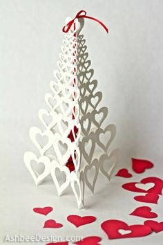 Valentine Centerpiece with Silhouette Trees by AshbeeDesign.com