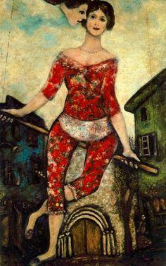 Marc Chagall - The Acrobat - 1930 - oil on canvas - 65 x 32 cm - Musée National d'Art Moderne, Center Georges Pompidou, Paris, France Marc Chagall, Artist Chagall, Chagall Paintings, Pablo Picasso, Georges Pompidou, Pompidou Paris, Posters Vintage, Jewish Art, Oil Painting Reproductions