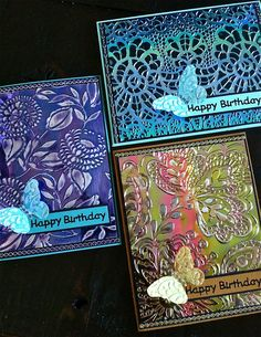 Gorgeous Cards from Els van de Burgt of   Elizabeth Craft Designs:  She made these cards with texture fades, her own product called Shimmer Sheetz, archival ink, sanding and a few embellishment.  Sizzix: Die Cutting Inspiration and Tips: Designer Profile: Els van de Burgt