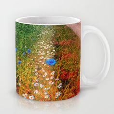 Summer flowers along the trail Coffee Mug by patrickjobst Ceramic Mugs, Summer Flowers, Coffee Mugs, Custom Design, Ceramics, Tableware, Trail, Ceramica, Pottery Mugs