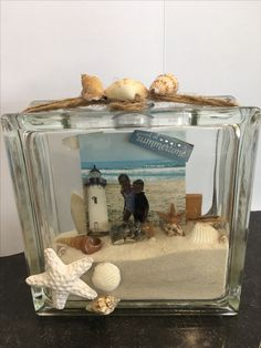 Beach theme Glass Block
