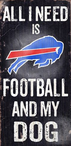 Buffalo Bills Wood Sign - Football and Dog 6x12