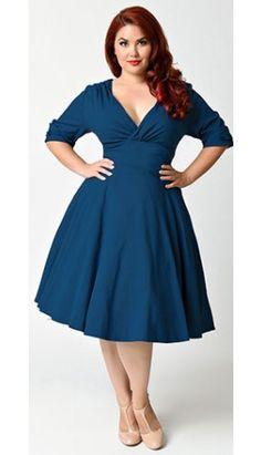 Unique Vintage Plus Size 1950s Dark Teal Half Sleeve Delores Swing Dress