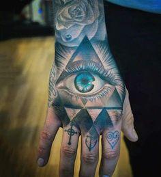 Black And Blue Shaded Eye Inside Traingle Tattoo Mens Hand