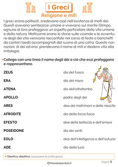 I Greci: Schede Didattiche per la Scuola Primaria | PianetaBambini.it Middle School, Back To School, Greek Art, New Years Eve Party, Art History, Mythology, Improve Yourself, Teaching, Education