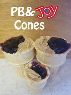 PB&J(oy) cones.  A classic favorite with an ice cream cone twist.  Just layer peanut butter and your favorite jelly for a quick easy snack.  The added crunch from the cone will surely be a new a favorite!  #bringJOYhome #JoyRecipes