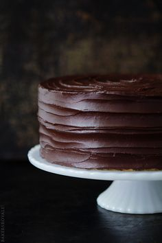 Browned Butter-Banana Cake with Salted Dark Chocolate Ganache