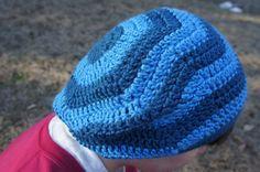 Crochet Chevron Dark Blue and Aqua Wavy Striped by ToniDStudio
