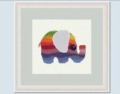 Elephant Rainbow - cross stitch pattern