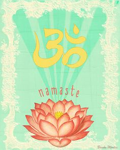 Lotus Om Art Print - Colorful Mixed Media - Collage - Wall Art - Poster - Pink and Green - Namaste