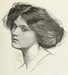 john waterhouse drawings   Head of a Girl by John William Waterhouse, 1849-1917