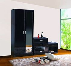 Ossotto High Gloss 3 Piece Bedroom Furniture Set Bedside Cabinet, Tall Cabinet Storage, Kids Bedroom Furniture, Chest Of Drawers, High Gloss, 3 Piece, Link, Home Decor, Drawer Unit