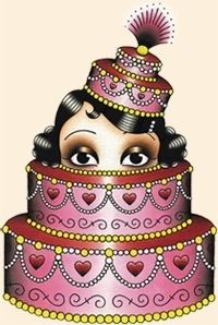 Vintage-style tattoo art by Angelique Houtkamp: Flapper face popping out of cake.