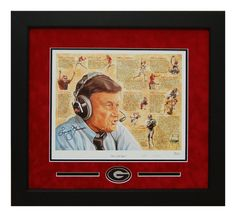 "Georgia Bulldogs Larry Munson Autographed & Custom Framed ""the 12th Man"" Print. Great for any Man Cave or DAWGS house!  #ManCaveDecor #GeorgiaBulldogs #SportsMemorabilia #Autographs #Legends #LarryMunson #12thMan #The12thMan #GiftsforHim"