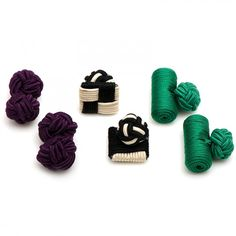 Ox and Bull Mens Silk Purple Peacock Knot Combo Cufflinks
