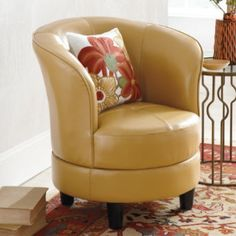 Rebecca Leather Swivel Chair - traditional - Armchairs And Accent Chairs - Grandin Road