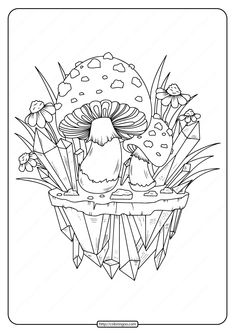 Printable Mushrooms Adult Coloring Page - High quality free printable coloring, drawing, painting pages here for boys, girls, children . Coloring Pages For Grown Ups, Easy Coloring Pages, Printable Adult Coloring Pages, Coloring Pages To Print, Coloring Books, Adult Coloring Book Pages, Colouring Pages For Adults, Mandala, Paisley