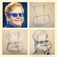 For those curious about it, this is basically one of the methods I used to construct my Elton John caricature. 1. Picked a good reference and analysed the main shapes. 2. Roughly drew the shapes while exaggerating the proportions. 3. Placed the main elements, eyes, nose, mouth... 4. Adjusted, refined and added details. Of course this is not a tutorial at all, just a rough overview of one of the things I use for my caricature work. It is only one aspect. There would be many other things to…