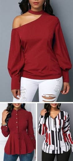 Wine Red Cutout Shoulder Long Sleeve Fashion Blouse Outfits For Winter Fall Outfits, Casual Outfits, Cute Outfits, Girl Fashion, Fashion Outfits, Womens Fashion, Estilo Rock, Blouse Outfit, Blouse Online