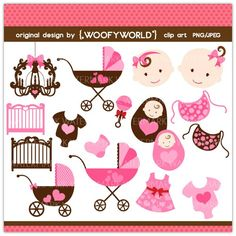 WA108 Pink Baby Shower- Personal and Commercial Use digital clip art -  new born,mom to be,chandelier,nursery,stroller,crib. $4.49, via Etsy.