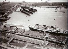 Normandie and the capsized SS Paris - Le Havre