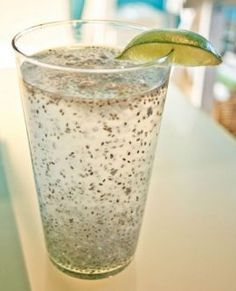 Chia seeds are a great way to get your protein, good fat, and fiber. Shown in picture is chia seeds, water, and juice of one lime. This link has lots of different ways to eat/drink chia seeds! Healthy Drinks, Healthy Snacks, Healthy Eating, Detox Drinks, Healthy Life, Chia Fresca Recipe, Raw Food Recipes, Healthy Recipes, Chi Seed Recipes