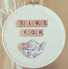 Time For Tea Scrabble Tile Wall