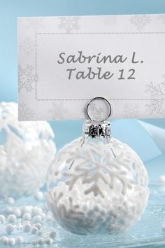 Christmas glass ornament place card holder for winter weddings + Wedding Favor for guests