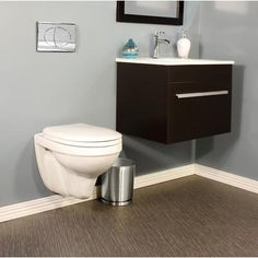 Foremost International - Wall Hung Two Piece 1.6 Gal. Dual Flush Round Bowl Toilet with Chrome Activator - CTL-1041DF-C - Home Depot Canada