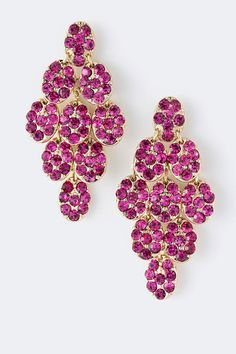 Set in a Diamond Chandelier style, light and gorgeous Charm Chandeliers finished with Raspberry Austrian Crystals.