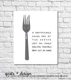 "Funny Kitchen Print Fork Art Quirky Kitchen Artwork Utensils Art Kitchen Wall Art Quote Sign Funny Home Decor Funny Kitchen Decor 8.5"" x 11"""