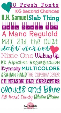 20 Fresh Fonts [from Sweet Rose Studio]  ~~  {20 free fonts w/ easy download links}  **these are NEW!**