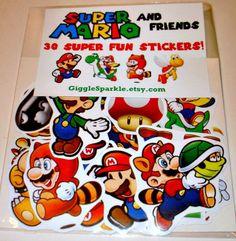 Super Mario and Friends Stickers - Nintendo, NES, SNES, Mario Bros. $8.50, via Etsy.