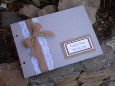 Rustic guest book-grey and brown guest book-burlap guest book