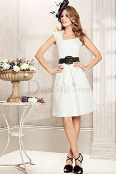 Fantastic Little White Bridesmaid Dress Features Cute Square Neckline Different color and different belt