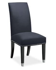 Amelia Dining Side Chair, Belgian Linen, Indigo, Polished Nickel
