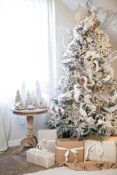 white Christmas tree decorated flocked