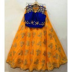 Tussar Silk Embroidered Yellow Semi Stitched Lehenga - S10029